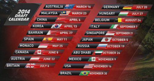 Formule 1 2014 kalender