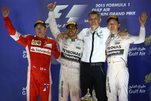 Formula One World Championship 2015, Round 4, Bahrain Grand Prix, Sakhir, Bahrain, Sunday 19 April 2015 - st place for Lewis Hamilton (GBR) Mercedes AMG F1 W06, 2nd for Kimi Raikkonen (FIN) Ferrari SF15-T and 3rd place for Nico Rosberg (GER) Mercedes AMG F1.
