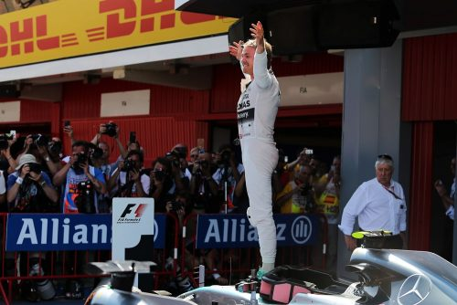 Formula One World Championship 2015, Round 5, Spannish Grand Prix, Barcelona, Spain, Sunday 10 May 2015 - Race winner Nico Rosberg (GER) Mercedes AMG F1 W06 celebrates in parc ferme.
