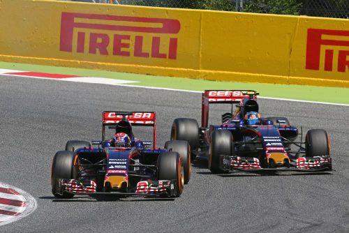 Formula One World Championship 2015, Round 5, Spannish Grand Prix, Barcelona, Spain, Sunday 10 May 2015 - Max Verstappen (NLD) Scuderia Toro Rosso STR10 leads team mate Carlos Sainz Jr (ESP) Scuderia Toro Rosso STR10.