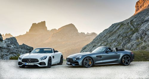 AMG GT Roadster und AMG GT C Roadster (R 190), 2016; Kraftstoffverbrauch kombiniert: 11,4 - 9,4 l/100 km, CO2-Emissionen kombiniert: 259-219 g/km//AMG GT Roadster and AMG GT C Roadster (R 190), 2016; fuel consumption, combined: 11.4-9.4 l/100 km; combined CO2 emissions: 259-219 g/km