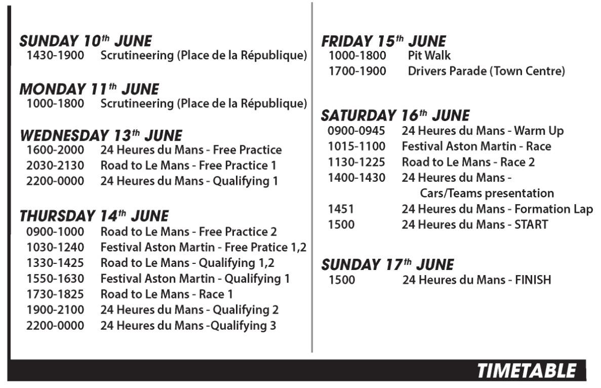 Le Mans time table 2018