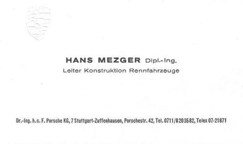 Hans Mezger Visitekaartje